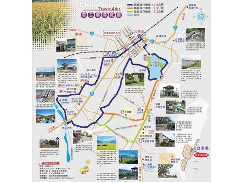 サイクリングコース。記者が走ったのは右側の小さい1周。池上郷観光地図(池上郷公所公式ページhttp://www.cs.gov.tw/pagea.php?Act=page8-1より)