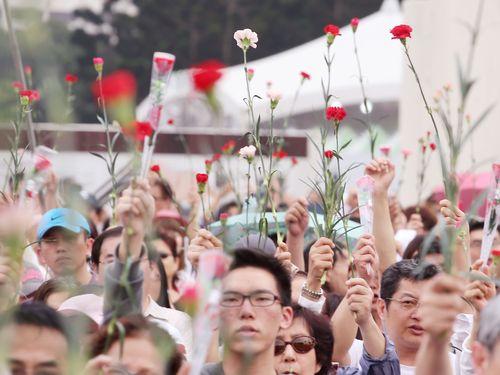 """国会占拠の""""ひまわり運動""""に対抗、""""カーネーション運動""""/台湾"""
