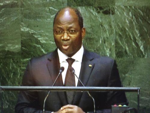 国連総会で台湾支持の発言をするブルキナファソの外相(国連HPより)