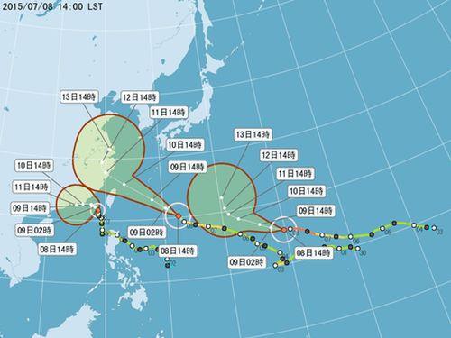 左から台風10号、9号、11号=中央気象局提供