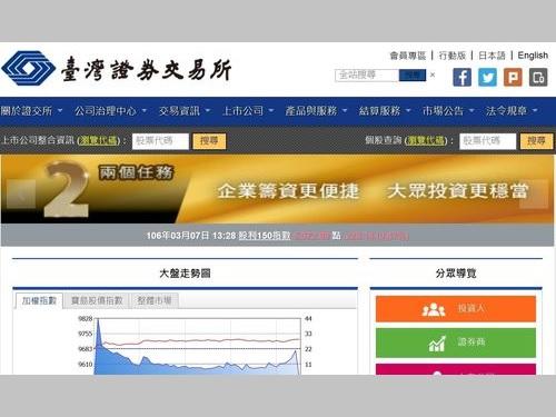 台湾証券取引所ホームページより