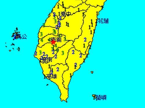 24日午後9時10分に起きた地震の推計震度分布図=中央気象局提供