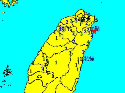 台湾北東部で震度4 マグニチュード5