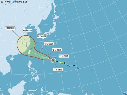 台風18号、台湾直撃か 14日に全土が強風域になる恐れ