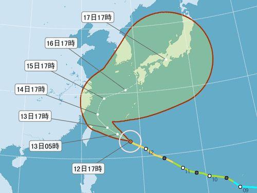 台風18号 進路は北寄りに 勢力さらに強まる恐れも/台湾
