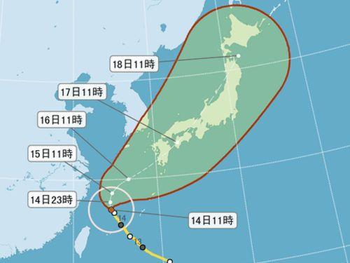 台風18号 東シナ海を北上 北部は大雨に警戒/台湾