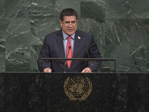 国連総会の一般討論演説に臨むパラグアイのカルテス大統領=国連HPより
