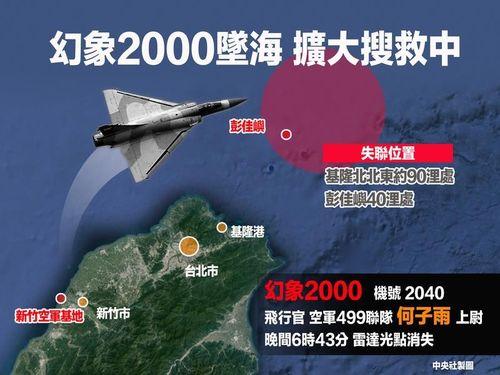ミラージュ2000の機影消える  パイロット不明  台湾北部沖