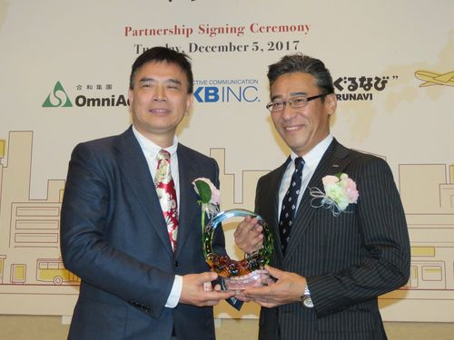 記念品を交換する合和集団の李勁宏総裁(左)とNKBの外谷敬之社長(右)