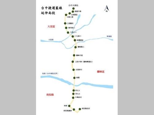 台中メトロ(MRT)ブルーライン延伸部の路線図=台中市政府提供