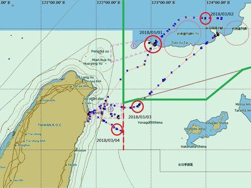 宜蘭県蘇澳籍の漁船「東半球28号」の移動軌跡を表すマップ=漁業署提供