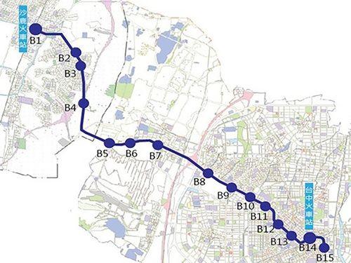 台中メトロ(MRT)ブルーラインの路線図=台中市政府交通局提供