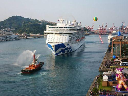 北部・基隆を母港として初めて運航するクルーズ客船の「マジェスティック・プリンセス」=基隆市政府提供