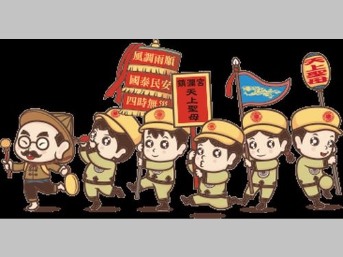 台湾ビールの限定ラベルに使われるデザイン。信者たちの帽子には赤い丸型の図案が描かれている=同社提供