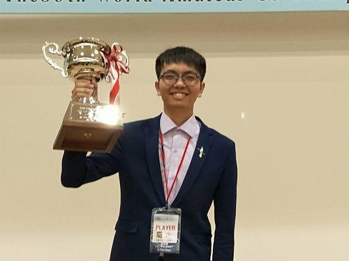 世界アマチュア囲碁選手権戦で4年ぶり2回目の優勝を果たしたセン宜典さん=中華民国囲碁協会提供
