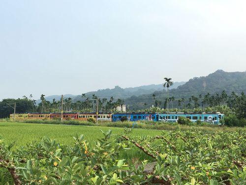 台湾鉄道集集線を走る特別ラッピング列車=台湾鉄路管理局提供