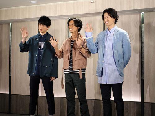 9月下旬に開催される台湾公演のPRのため訪台した関ジャニ∞の(左から)横山裕、錦戸亮、大倉忠義