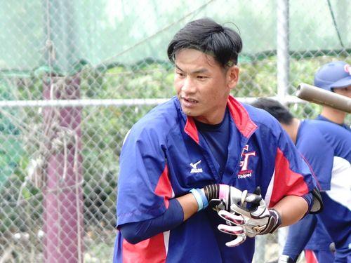 台湾代表の主力打者として活躍する姜建銘=2018年3月撮影