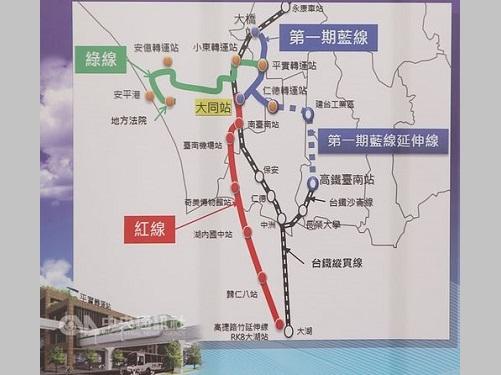 台南のMRT路線図