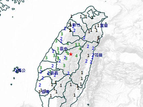 18日の地震の推計震度分布図=中央気象局提供
