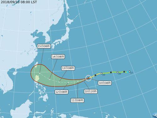 台風22号の進路予想図=中央気象局提供