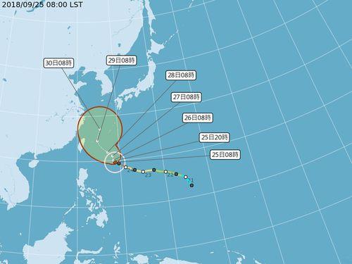 台風24号の進路予想図=中央気象局提供