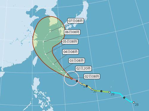 台風25号の進路予想図=中央気象局提供