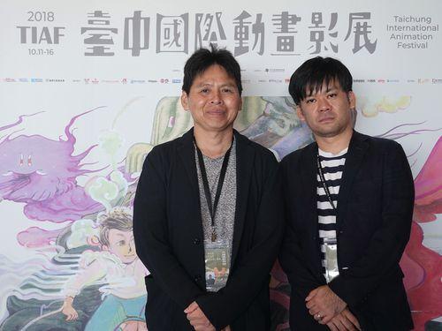「台中国際アニメーション映画祭」のトークイベントに出席する高坂希太郎監督(左)