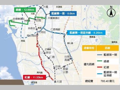 台南市のMRT路線計画図=同市交通局提供