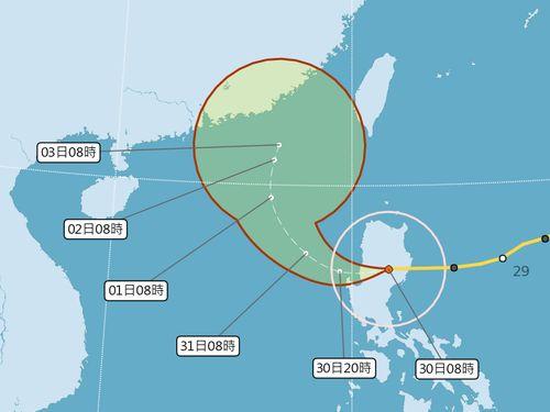 台風26号の予想進路図=中央気象局提供