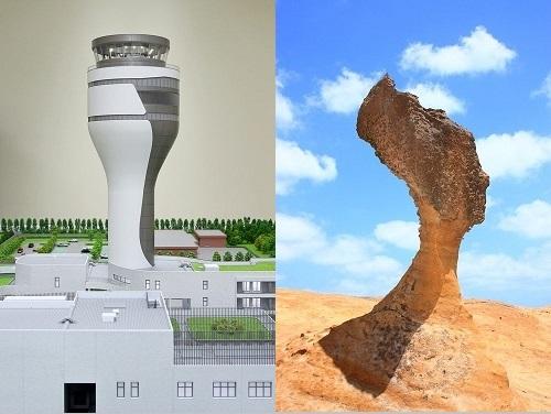 「女王の頭」(右)をイメージした桃園空港の新たな管制塔