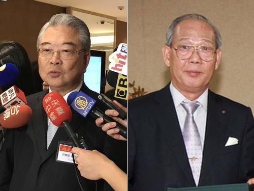 受章した金宝電子工業の許勝雄会長(左)と台日文化経済協会の鄭祺耀名誉会長=右写真は台南市政府提供