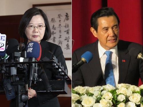 蔡英文総統(左)と馬英九前総統