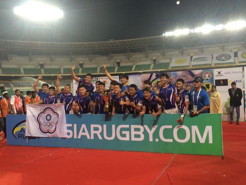 ラグビーの7人制男子の国際大会で優勝する台湾代表=資料写真、中華民国ラグビー協会提供