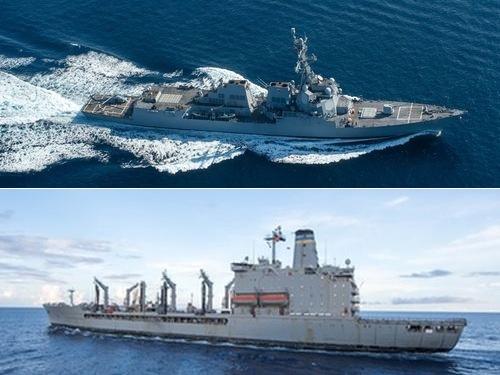 ミサイル駆逐艦ストックデール(上)と給油艦ペコス=米海軍HPから