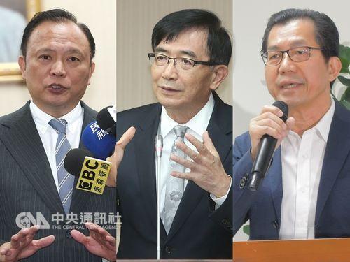 1日辞任が発表された(左から)林聡賢・農業委員会主任委員、呉宏謀・交通部長、李応元・環境保護署長