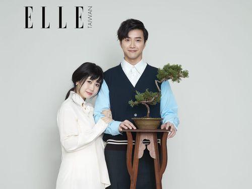 雑誌の撮影に臨む福原愛さん(左)と夫の江宏傑さん=ELLE提供