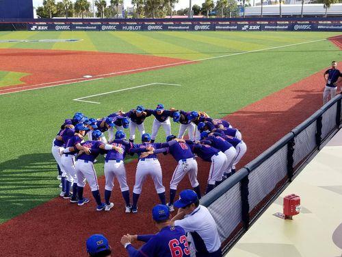 今年8月の女子野球W杯で日本との決勝を前に円陣を組む台湾の選手たち=駐マイアミ弁事処提供
