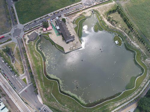 台中駅近くの再開発エリア「台糖湖浜生態園区」=台中市政府提供