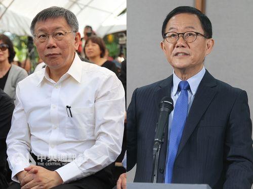 再集計でも無所属現職の柯文哲氏(左)の得票数が国民党候補の丁守中氏(右)を上回った