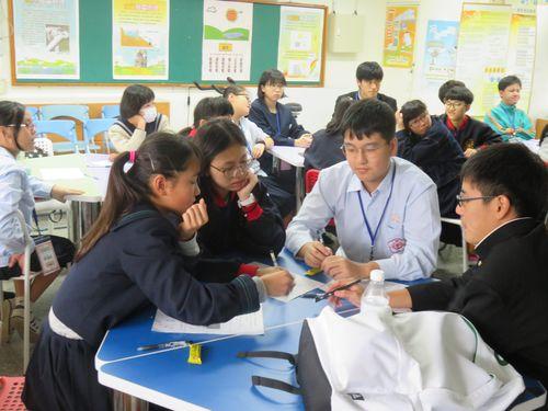 グリーンエネルギーについて討論する日台の中学生たち=台北市政府提供