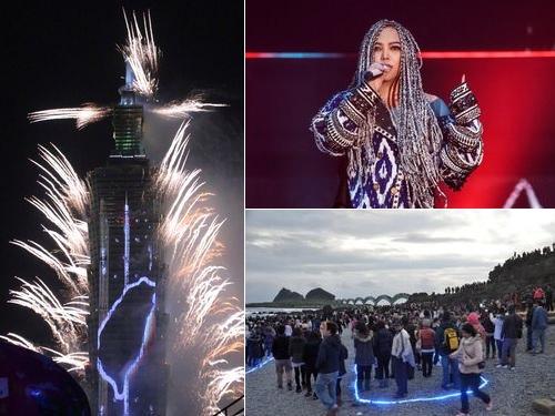 台北101の花火ショー(左)、女性歌手のアーメイ(右上、EMI提供)、台東県三仙台で初日の出を観賞する人々(右下)