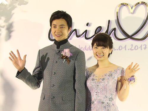 江宏傑さん(左)と福原愛さん