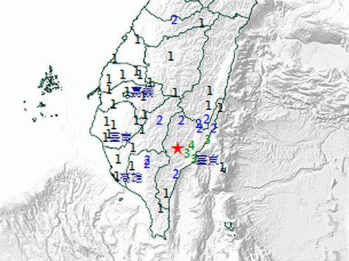 4日午前2時2分にあったM4.7の地震の推計震度分布図=中央気象局提供