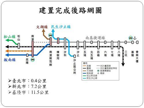 基隆と台北東部結ぶLRTの路線図=基隆市政府提供