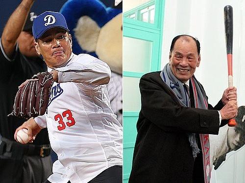 台湾野球殿堂入りした郭源治氏(左)と洪太山氏