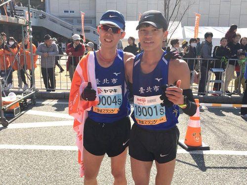 愛媛マラソンに参加した李銘勝選手(左)=台北市政府提供