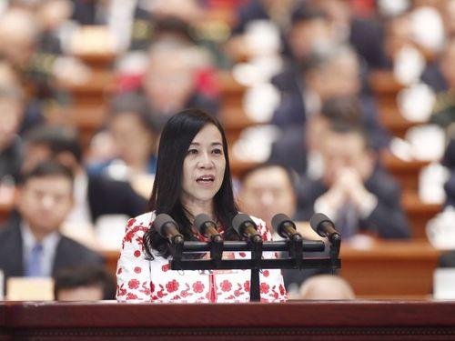 中国の全国政協で演説を行う凌友詩氏=中新社提供