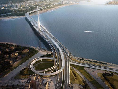 淡江大橋の完成イメージ=公路総局提供