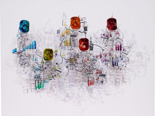 柯毓珊さんの受賞作「未来都市―色彩球」=NONIO ART WAVE AWARD 2019提供